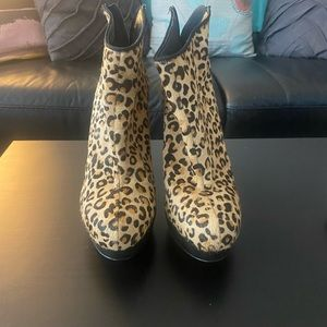 "ALDO cheetah ""fur"" print booties."